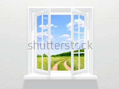 Papiers peints Fenêtre ouverte et vieille route