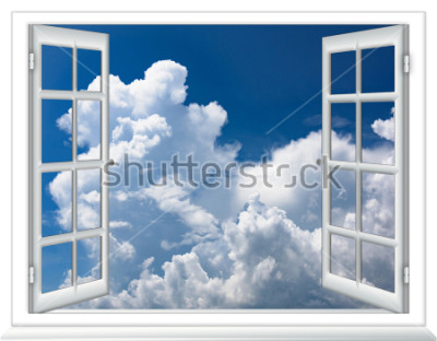 Papiers peints fenêtre ouverte vue du ciel avec nuages lever du soleil