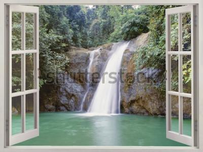 Papiers peints Fenêtre ouverte vue sur la cascade tropicale près de la ville de cascades, Iligan, Mindanao, Philippines