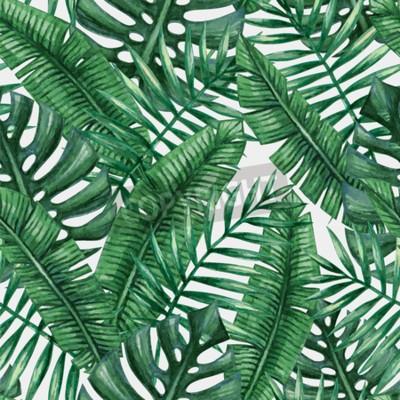 feuille de palmier tropical aquarelle avec motifs transparents papier peint papiers peints. Black Bedroom Furniture Sets. Home Design Ideas