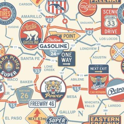 Papiers peints Feuille de route de vecteur vintage avec enseignes - seamless
