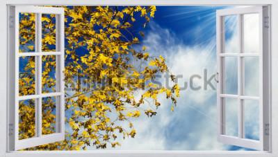 Papiers peints Feuilles d'automne jaunes dans le ciel