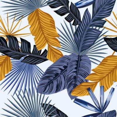 Feuilles De Palmier En Or Bleu Fond Blanc Transparent Papier Peint