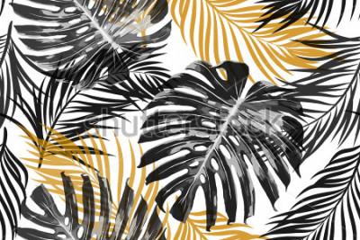 Papiers peints Feuilles de palmier tropical, feuilles de jungle. Beau vecteur transparente chic à la mode abstrait motif floral tropical