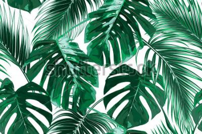 Papiers peints Feuilles de palmier tropical, feuilles de jungle fond vectorielle continuer motif floral