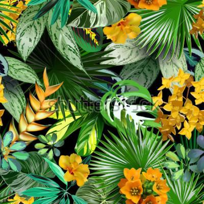 Papiers peints Feuilles et fleurs tropicales, modèle sans couture pour le papier d'emballage, textiles, fond tropical, conception de voyage, spa, cosmétiques