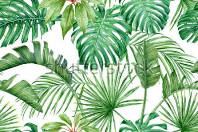 Papiers peints Feuilles tropicales. Monstera, strelitzia, palmiers. Modèle sans couture aquarelle.
