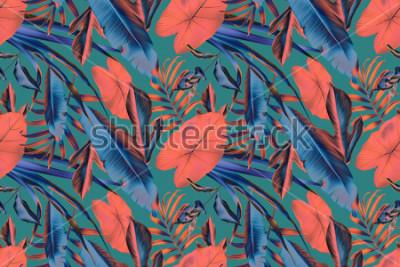 Papiers peints Feuilles tropicales sans soudure de fond, botanic rétro