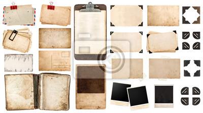 Papiers peints feuilles vintage papier, livre, vieux cadres photo et coins, Antiqu