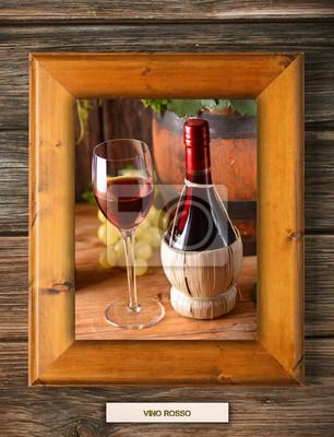 Fiasco di vino rosso nella corniche di Legno