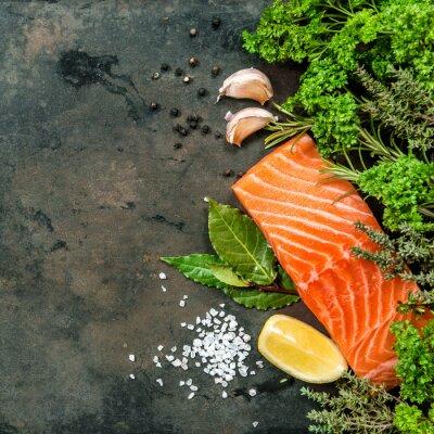 Papiers peints Filet de saumon aux épices. Fruit de mer