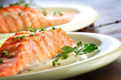 Papiers peints Filet de saumon frit