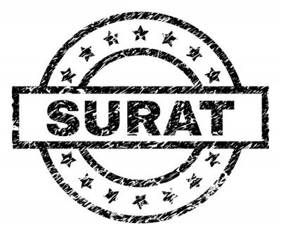 Papiers peints SURAT stamp seal watermark with distress style. Designed with rectangle, circles and stars. Black vector rubber print of SURAT title with corroded texture.