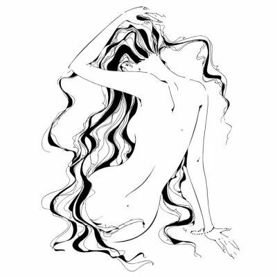 Papiers peints Fille nue. Graphique. Boucles. Le nu. Vecteur