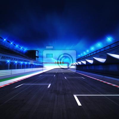 Fin, course, racetrack, mouvement, flou, stade, projecteurs