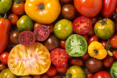Papiers peints Fin, haut, coloré, tomates, quelques, coupé, coup, haut
