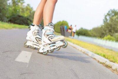 Papiers peints Fin, haut, fille, rollerblading, Parc Extérieur, récréation, mode de vie, patin à roues alignées.