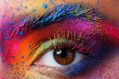 Papiers peints Fin, haut, vue, femme, oeil, clair, multicolore ...