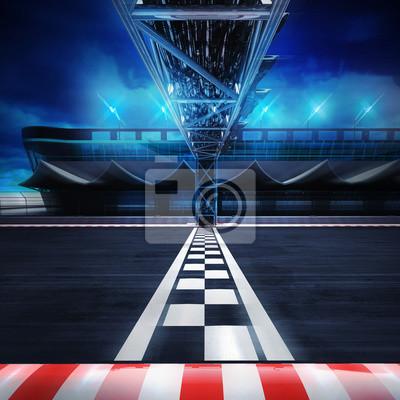 Fin, ligne, portail, racetrack, mouvement, flou, côté, vue