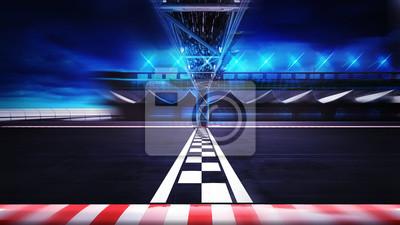 Fin, ligne, racetrack, mouvement, flou, côté, vue