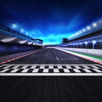 Fin, ligne, racetrack, mouvement, flou, stade, projecteurs