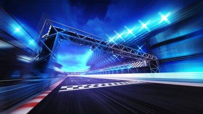 Fin, portail, racetrack, stade, projecteurs, mouvement, barbouillage