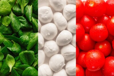 Papiers peints Flag of Italy made of basel leaves, mozzarella cheese, and cherr