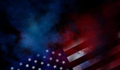 Papiers peints flag USA background design for independence, veterans, labor, memorial day. colorful smoke on black background