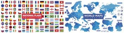 Papiers peints Flags, maps world collection