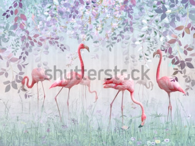 Papiers peints Flamants roses dans un jardin délicat dans une brume turquoise. Peinture murale et papiers peints pour l'impression intérieure.