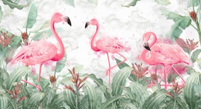 Papiers peints flamingos in tropical streams with textured background, photo wallpaper