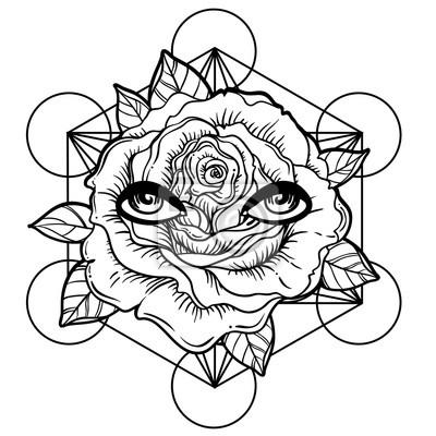 Flash De Tatouage Noir Fleur Rose Geometrie Sacree Yeux