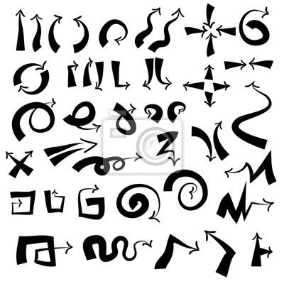 Flèches Doodle fixés avec une spirale, carré, cercle et triangle