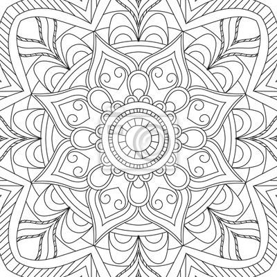 Coloriage Adulte Vintage.Fleur Mandala Circulaire Pour Les Adultes Conception De Page Papier