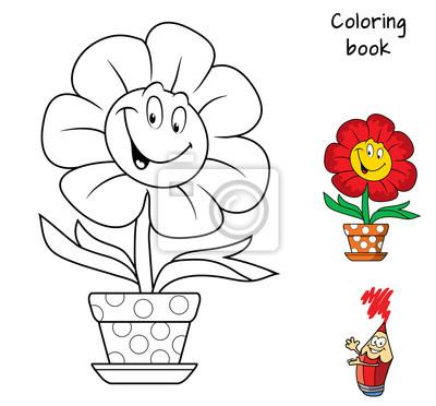 Coloriage Fleur Pot.Fleur Souriante Drole Dans Un Pot De Fleurs Livre De Coloriage