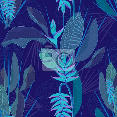 Fleur Tropical Heliconia Branche Laisse Fond Transparent Aquarelle