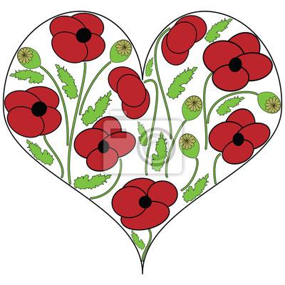 Fleurs de pavot graines en forme de coeur