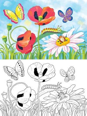 Coloriage Fleur Insecte.Fleurs Et Insectes Mignons Coloriage Carte De Voeux Papier Peint
