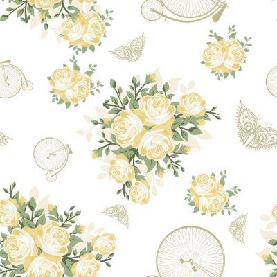 Papiers peints Fleurs jaunes, papillons et bicyclettes Seamless Pattern