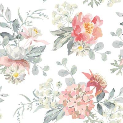 Fleurs Roses Avec Des Feuilles Gris Perle Sur Le Fond Blanc Papier