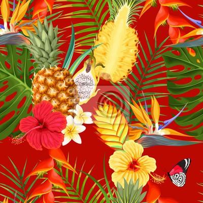 Papiers peints Fleurs tropicales et fruits sans soudure