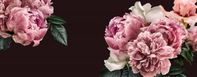Papiers peints Floral banner, flower cover or header with vintage bouquets. Pink peonies, white roses isolated on black background.