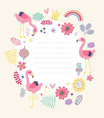 floral card, frame for text with cute flamingos