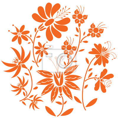 Floral folk pattern in circle