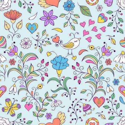 Papiers peints Floral, fond, oiseau, fleurs