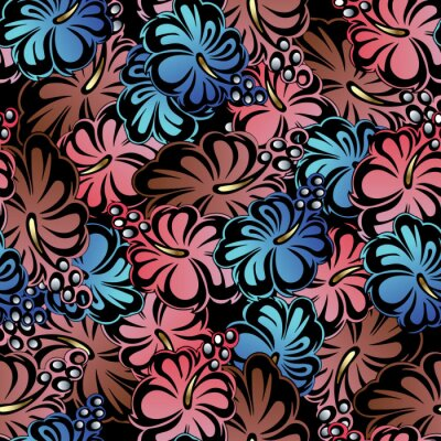 Floral Pattern Sans Soudure Colore Fond De Vecteur Sepanouir Papier