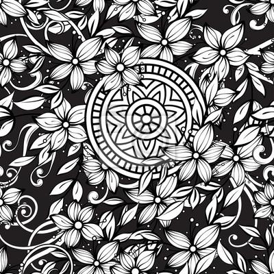 Coloriage Adulte Fond Noir.Floral Pattern Sans Soudure En Noir Et Blanc Page De Livre De