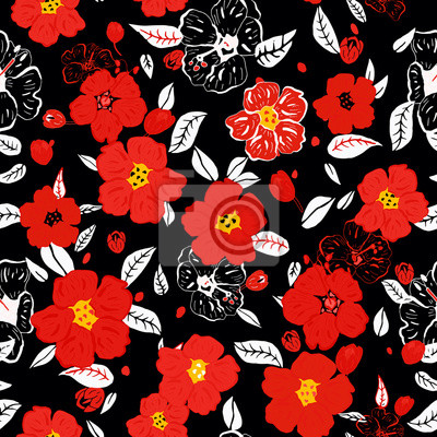 Floral Seamless Modele Rouges Fleurs Noir Fond Papier Peint