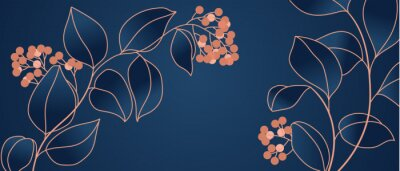 Papiers peints Floral seamless navy blue and copper metallic plant background vector for house deco