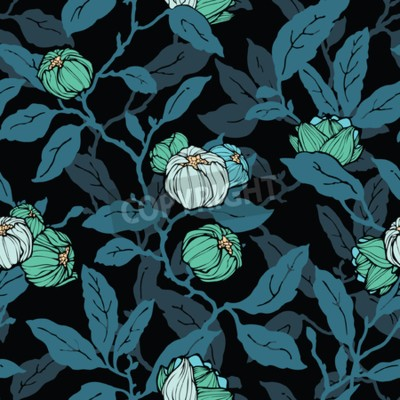 Papiers peints Floral seamless pattern. Abstract ornamental flowers. Flourish leaves background